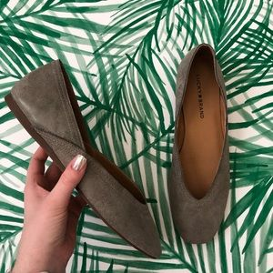 Lucky Brand Gray Leather Alba Flats Size 9